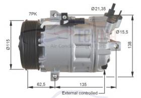 ECLIMA 121025X - COMPRESOR ZEXEL DCS-17IC GM-NISS-OP-REN-VAU PV7 119MM 12V