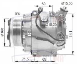 ECLIMA 120581 - COMPRESOR  SANDEN  SD5H14 CASE-N.HOLLAND PV2 12V